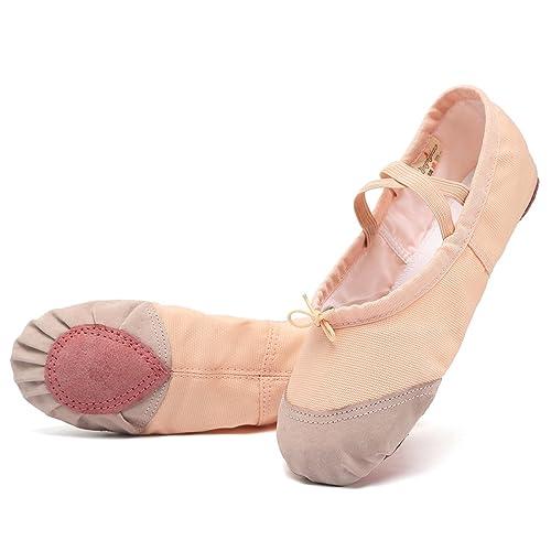 Amazon.com: keesky las niñas Ballet Slipper de piel Toe Yoga ...