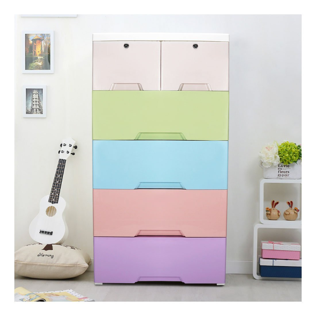 kids closet with drawers. YUTING Kids Closet Storage Cabinet With 4 Drawers And 2 Cabinets, Easy-To-Assemble Plastic Thicker Clothes