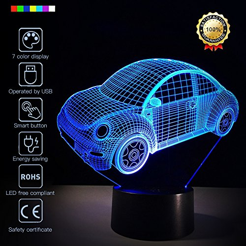 3D Led Optical Illusion 7 Colors Change Night Light Touch Button Creative Design Decorative Lighting Effect Lamp  (Beetle) ()
