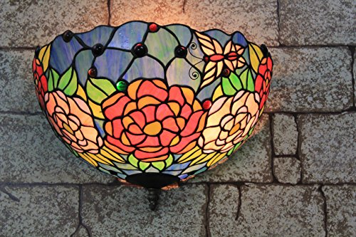 (12-inch Vintage Pastoral Stained Glass Tiffany Rich Peony Flowers Wall Lamp Hallway Wall Sconce Lamp Fixture)