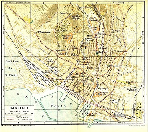 Cagliari Sardinia Italy 1930 color lithograph city plan (1930 Lithograph)