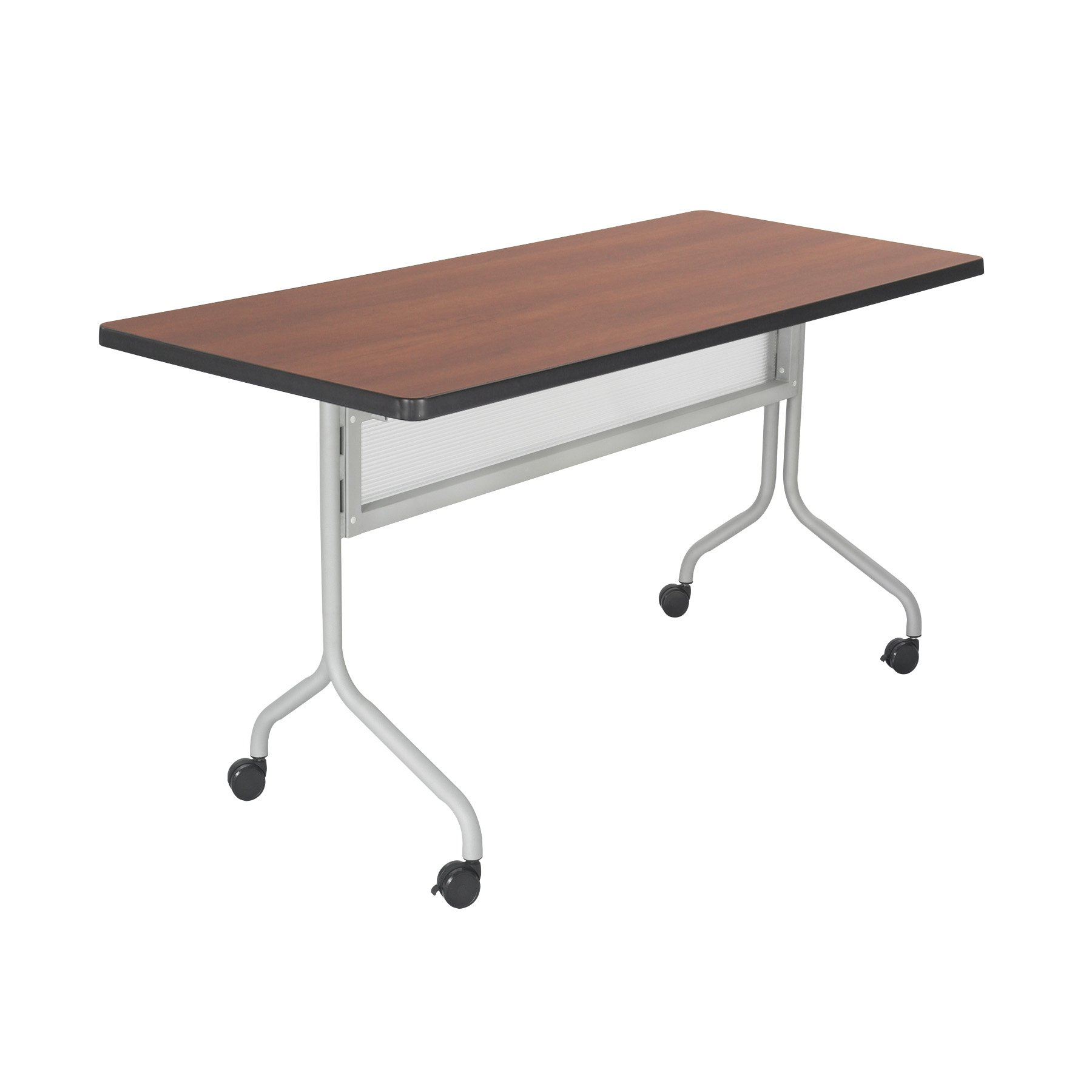 Safco Products 2072CYSL Impromptu Rectangle Mobile Training Table, 72''W x 24''D, Cherry Top/Silver Base