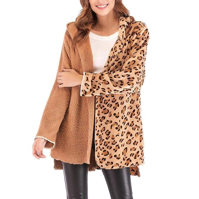Luckycat Mujeres Leopardo Sexy Invierno cálido Viento Abrigo Cardigan Leopardo de impresión Larga Capa (Caqui