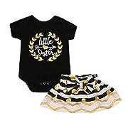 Woaills 0-24M Baby Girls Romper Skirt Outfits Set, Little Sister Newborn Matching Top T-Shirt (3M, Black)