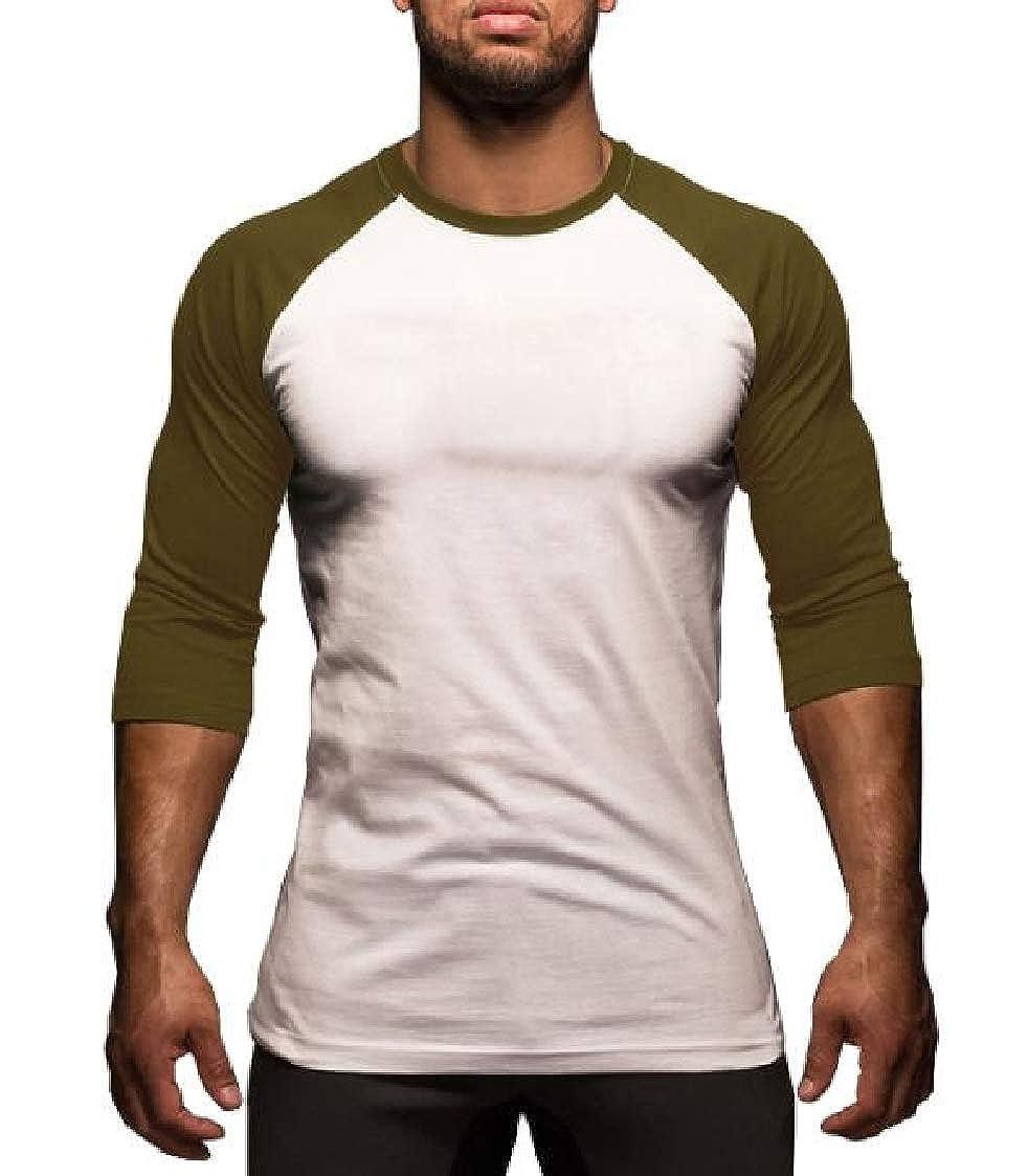 Nanquan Men Raglan Long Sleeve Slim Fitness Contrast Round Neck T-Shirt Tee