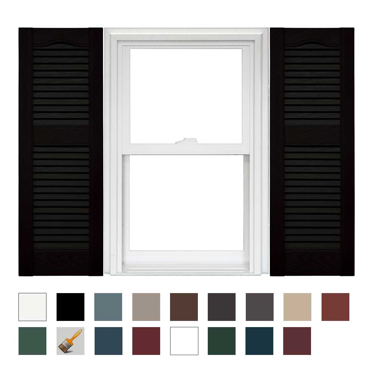 Mid America Cathedral Open Louver Vinyl Standard Shutter - 1 Pair 12 x 60 002 Black