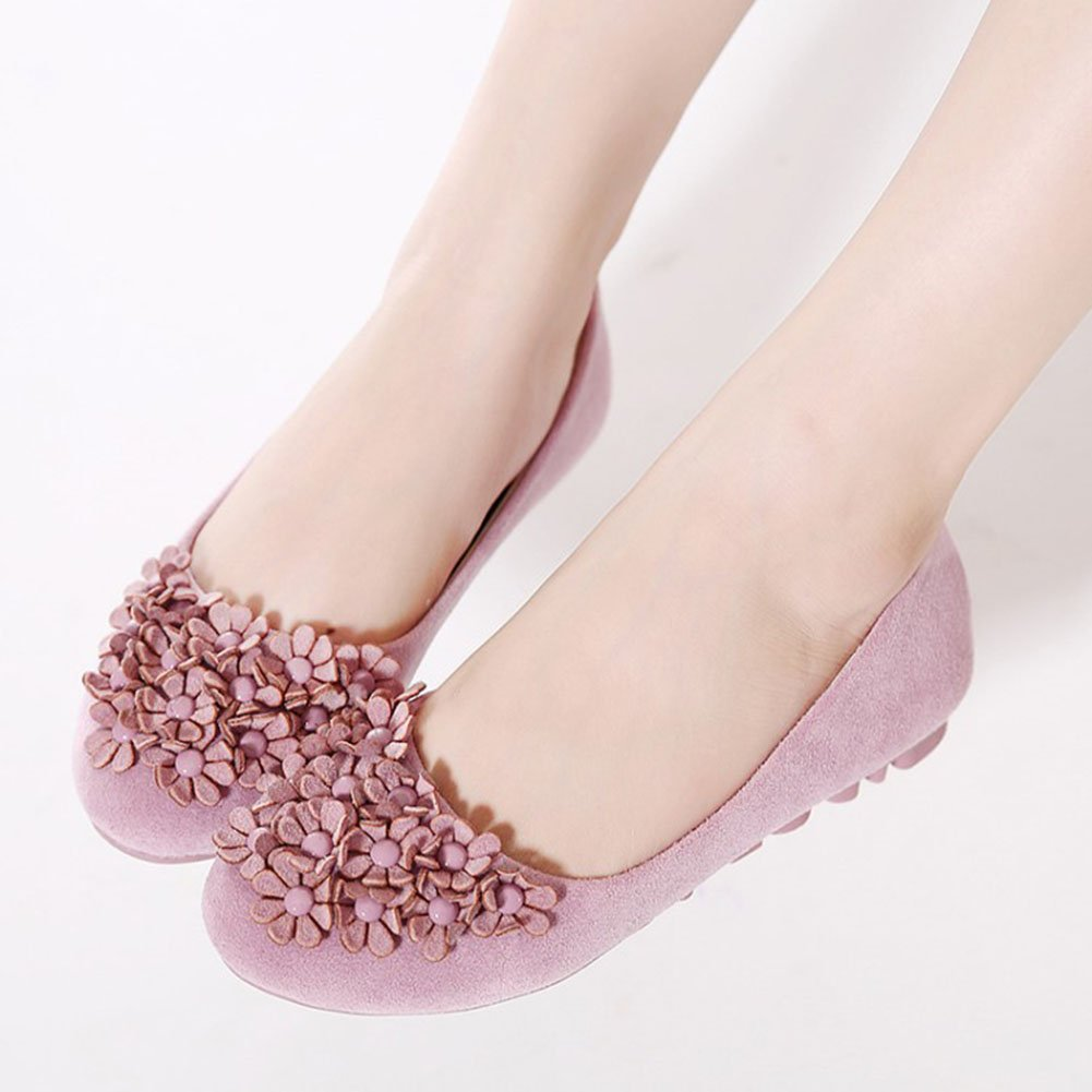 CHFSO Womens Sweet Floral Round Toe Slip On Low Top Solid Suede Flats Shoes