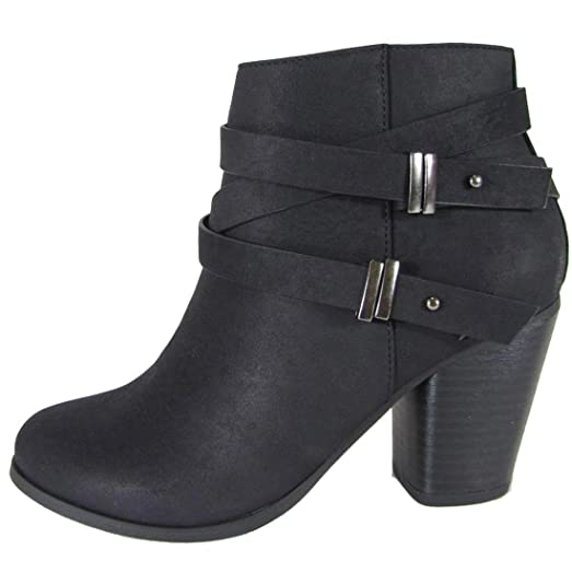 Women's Side Saddle Strap Stacked Chunky Heel Ankle Bootie