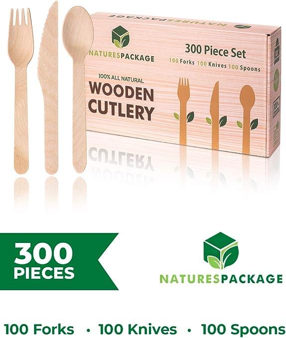 Juego de cubiertos de madera desechables, 300 piezas, madera ...