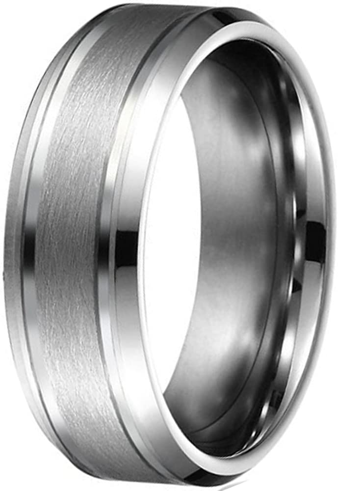 Mens 8mm Silver Tungsten Carbide Rings Double-Groove Brushed Center Wedding Bands