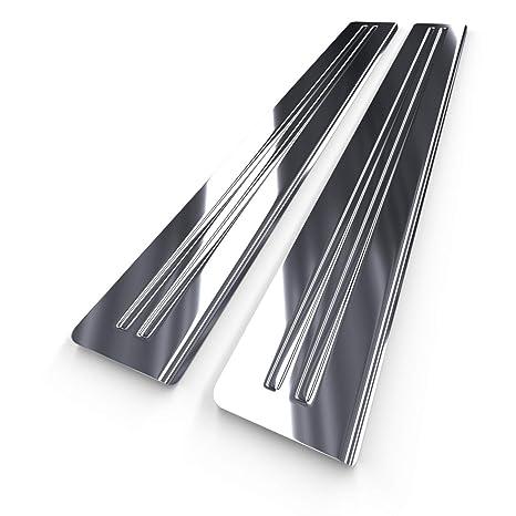 Protectores de acero para umbral de coche - plata - brillo - kit de 2 piezas