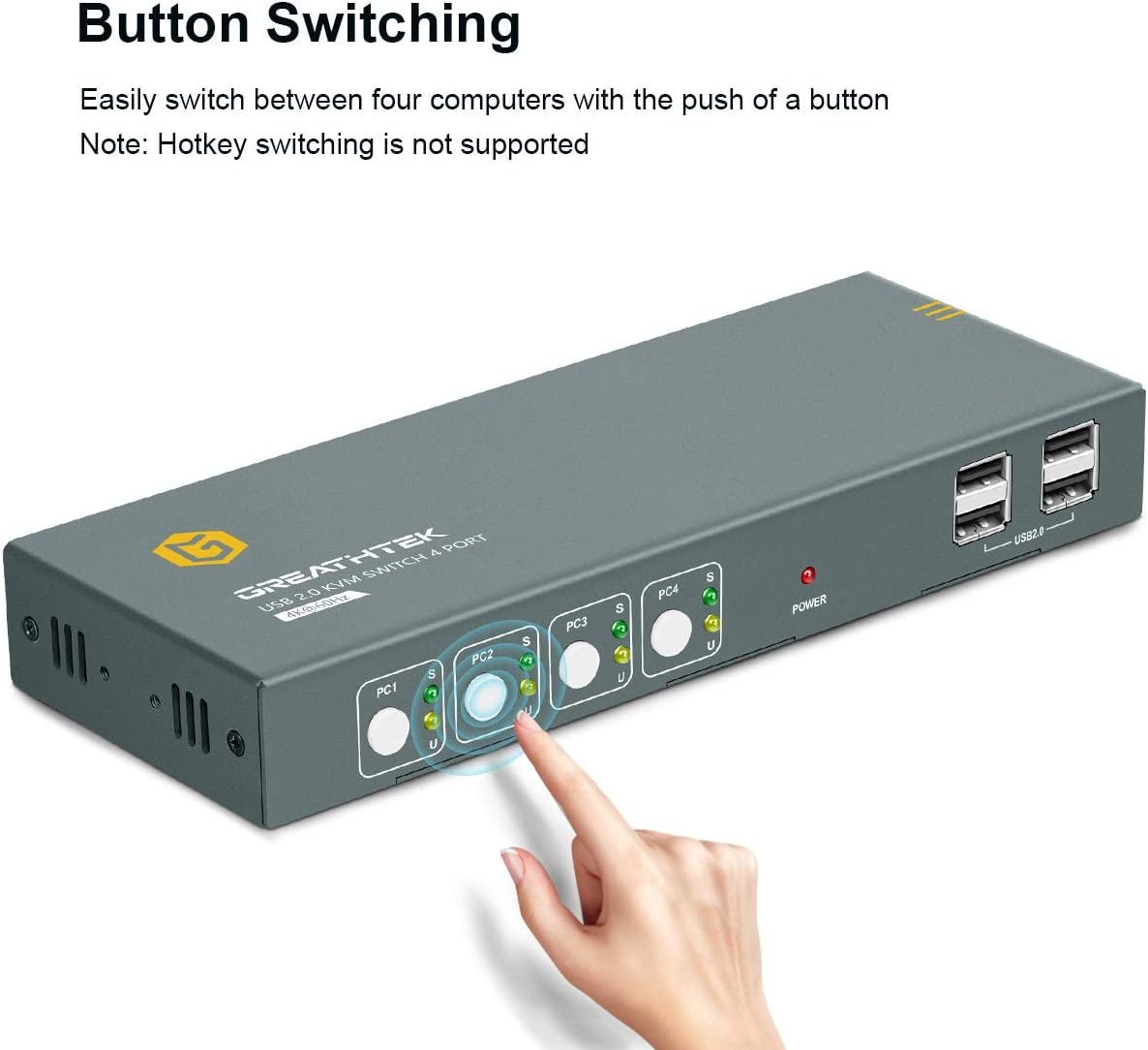 USB KVM Switch HDMI 4 in 1 Out with 4 USB 2.0 Hub Compatible with Most Keyboards and Mouse Button Switch 4 Port HDMI 2.0 KVM Switch 4K@60Hz