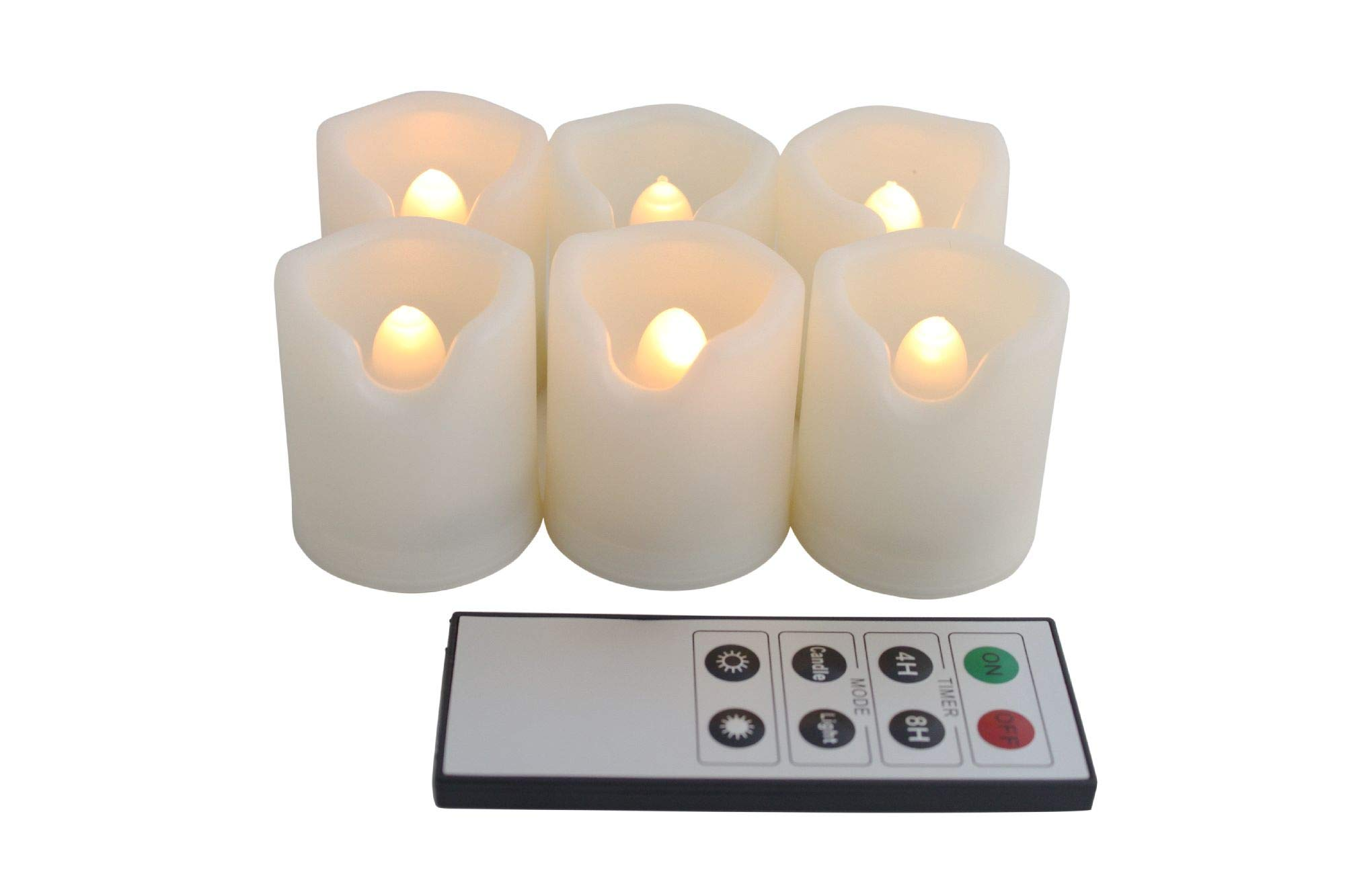 EcoGecko Remote Controlled Round Melted Edge Flameless LED Votive Candles, Set of 6