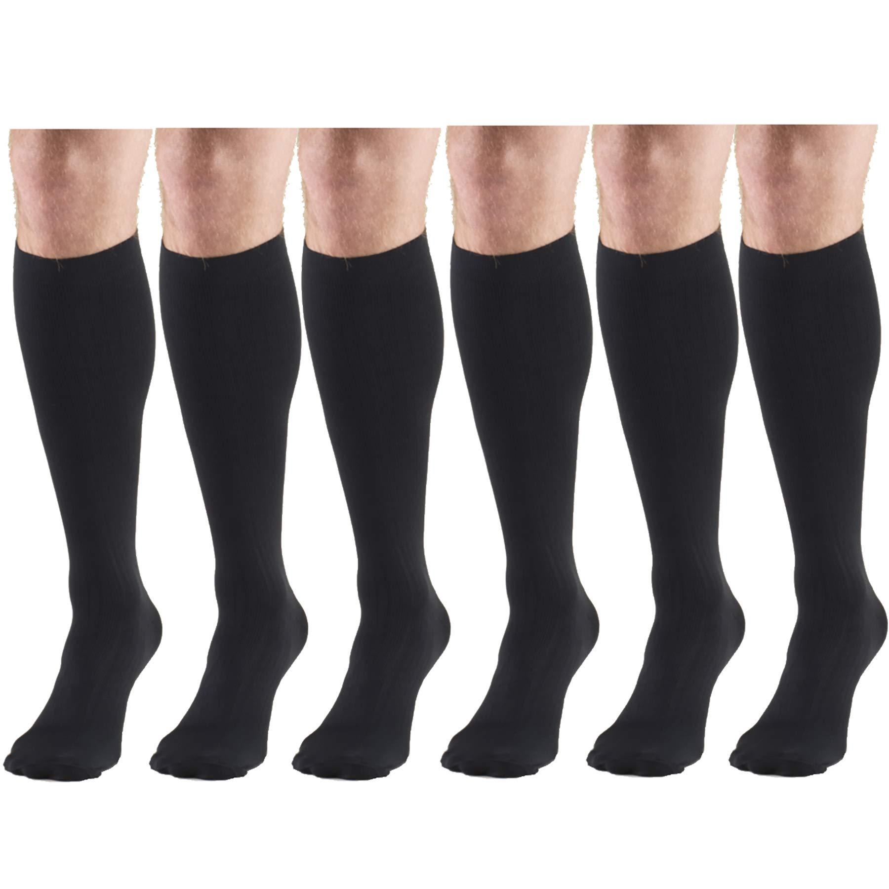 Compression Socks, 30-40 mmHg, Men's Dress Socks, Knee High Over Calf Length Black X-Large (6 Pairs)