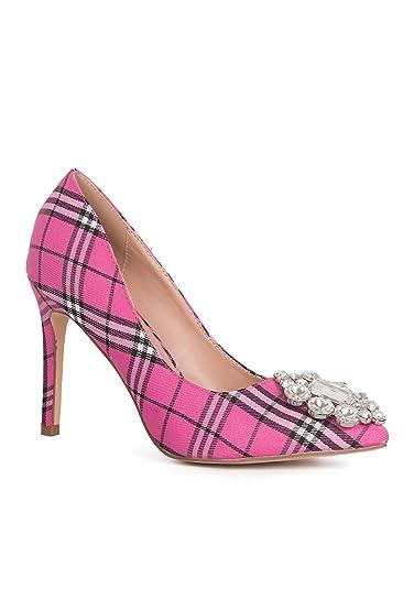 da353d064a77 Lauren Lorraine Giselle-2 Slip On Rhinestone Slim Heel Stiletto Hot Pink  Plaid Pump (