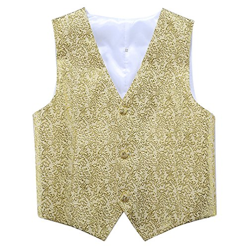 PGNROPE Boys Stylish Stage Performance Wedding Waistcoat (Gold, 14/Height 145-155cm) Performance Suit Vest