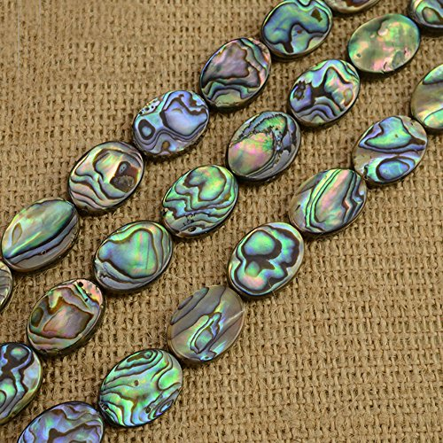 JARTC Middle hole Ellipse shape Abalone Shell beads natural shell beads DIY loose beads for jewelry making (8x12mm) - Ellipse Natural