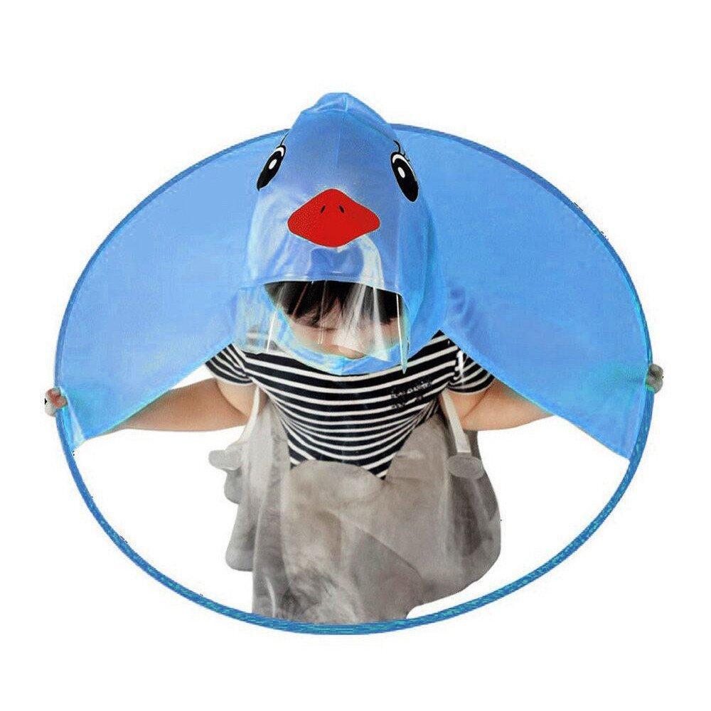 Cute Cartoon Little Yellow Duck Children Raincoat Baby Waterproof Cloak Foldable UFO Shape Transparent Umbrella Rain Hat Cap Kids Hands Free Poncho Outdoor Rain Suit