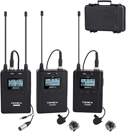 Comica CVM-WM200A micrófono solapa inalámbrico 84-canales wireless ...