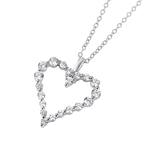 910cbcf5350b1 Image Unavailable. Image not available for. Color  CloseoutWarehouse  Different Size Clear Cubic Zirconia Stones Heart Necklace Rhodium Plated  Sterling ...
