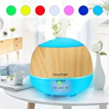 500ml Essential Oil Diffuser, InnooCare Aromatherapy Diffuser, Ultrasonic Cool Mist Wood Grain Humidifier with 7 Color Changing LED Lights and Timer Settings, Waterless Auto off
