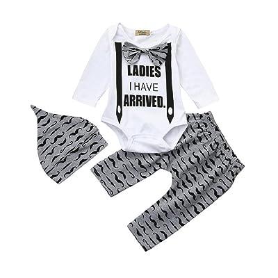 ❤️Lettres à Manches Longues Bébé, Sisit 3pcs enfant en bas âge bébé garçons lettre vêtements ensemble barboteuse + pantalons + tenues de chapeau