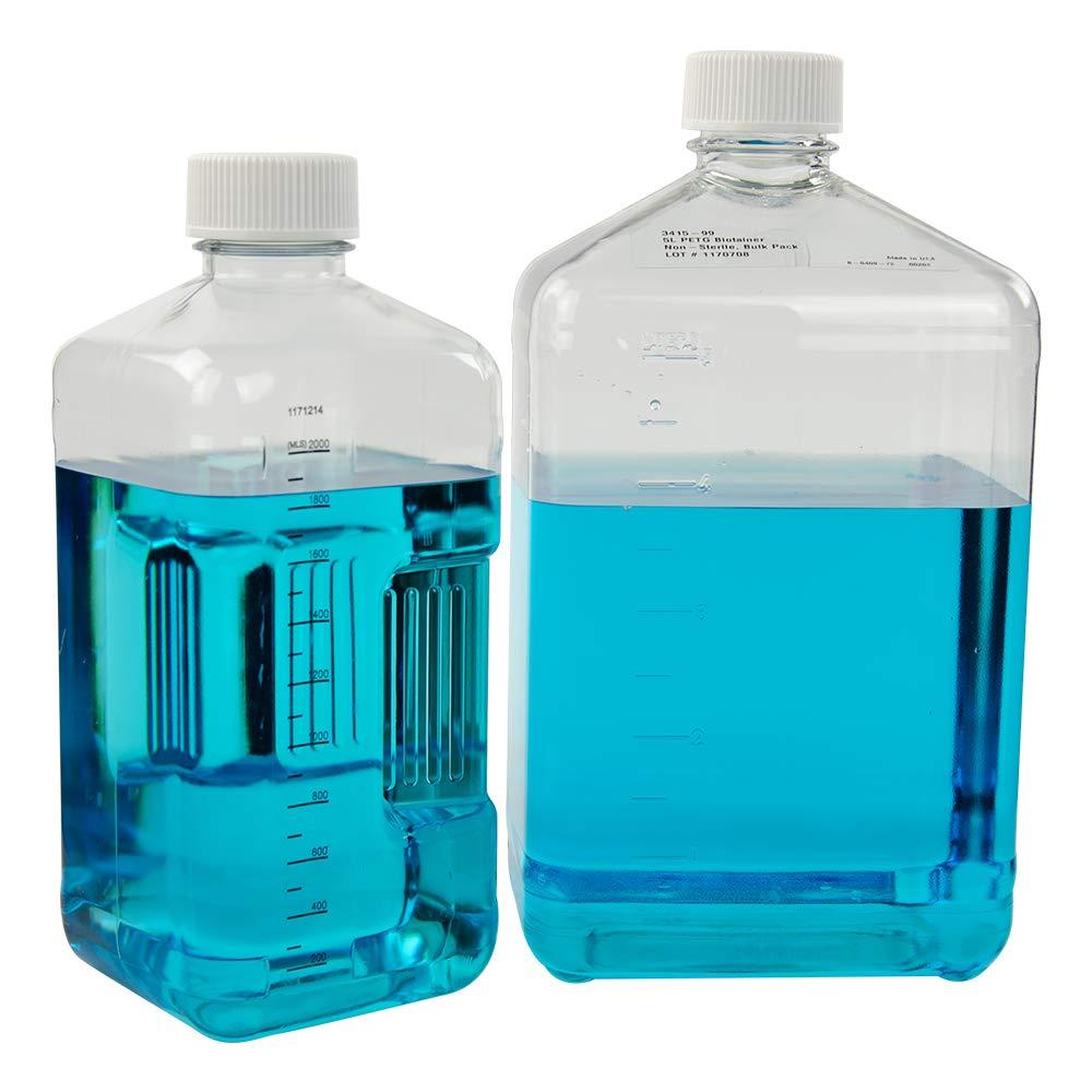 2 Liter Sterile Square Nalgene PETG Biotainer Bottle with 48mm Cap (Case of 20)