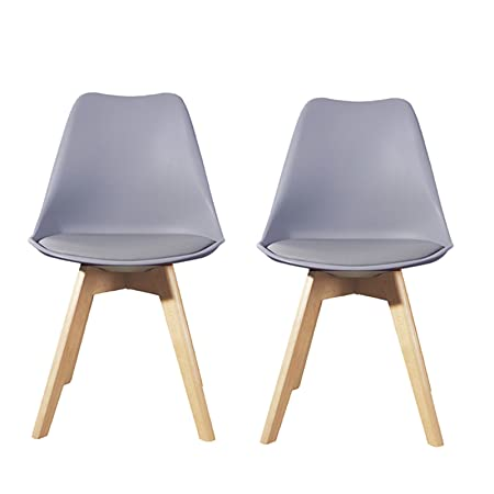 2x Lavin Lifestyle Grey Dining Chair Natural Solid Wood Legs With Cushioned  Pad Contemporary Designer For