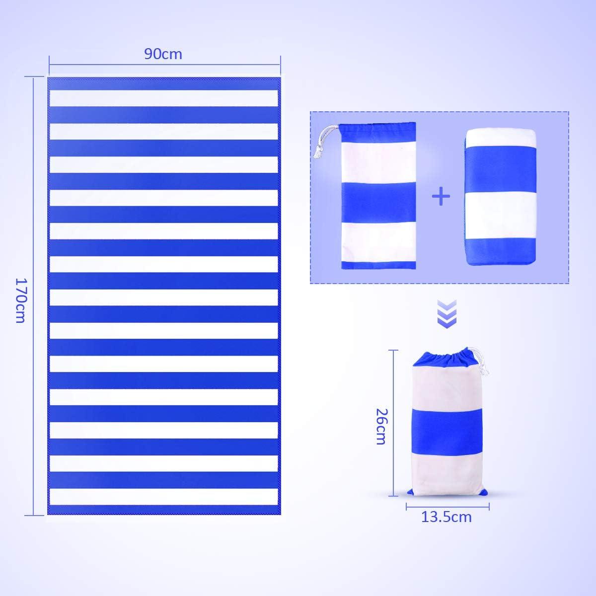 170x90cm Fitness Handtuch und Sporthandtuch inkl Tasche. Ultra leicht /& Schnelltrocknend Reisehandtuch Microfibre Gym Towel Strand /& Sport T-SUN Mikrofaser Handt/ücher Blue