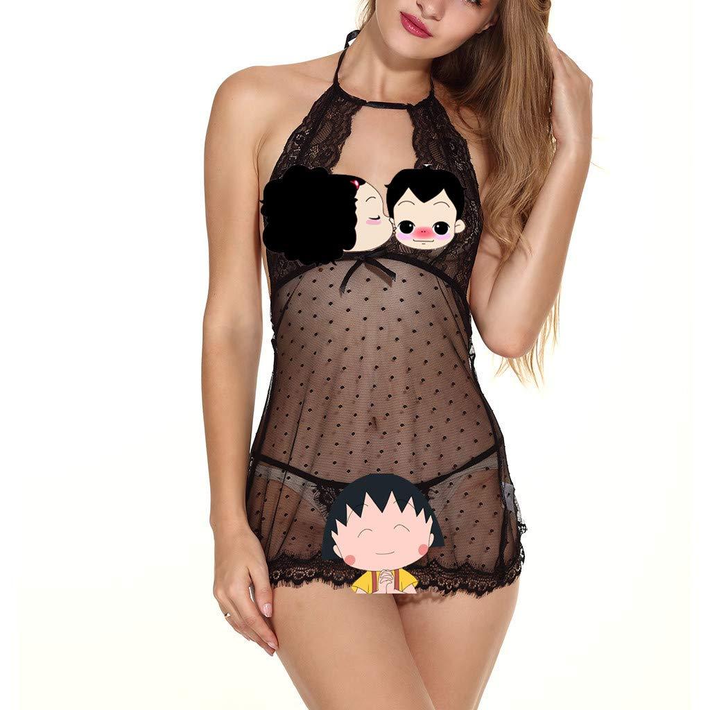 Lingerie Satin Babydoll Nightgown V Neck Strap Lace Chemise Sleepwear Set for Women (S, Black,)