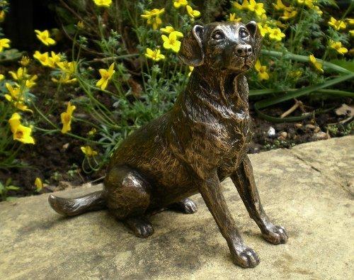 Sitting Labrador Cold cast Bronze Sculpture by Harriet Glen 15cm High by Arrow-Lane-Gifts