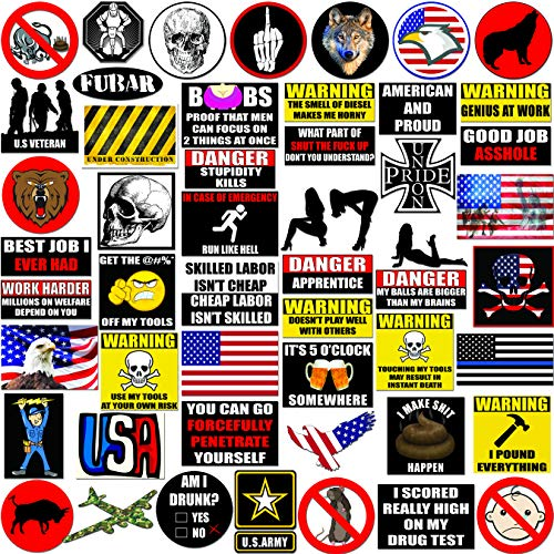 Hard Hat Stickers 50+ MEGA PACK, Tool Box Stickers and Decals, Funny Construction, Military, Veteran, Union, Patriotic USA Stickers, Make People Laugh at Work from Moonstone Rose