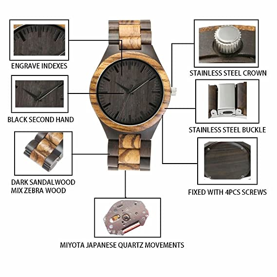 Amazon.com: ShoppeWatch Mens Wooden Bracelet Watch Two Tone Sandal Wood Zebrawood Hypo-Allergenic Reloj de Madera Hombre: Watches