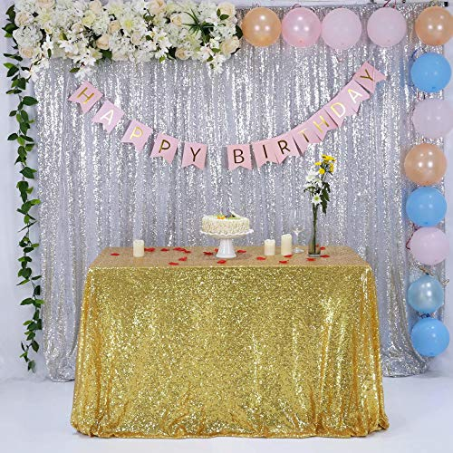 GFCC Seamless Glitter Gold Sequin Tablecloth for Party Wedding Banquet Christmas Event Table Cloth Decorations 50x84 inch Sparkly Cake Table Cover]()