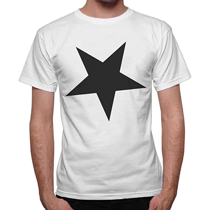 thedifferent Camiseta hombre estrella negra Black Star Minimal - Blanco Bianco Medium: Amazon.es: Ropa y accesorios