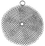 7 inch cast iron - Stainless Steel Cast Iron Skillet Cleaner Chainmail Cleaning Scrubber With Hanging Ring for Cast Iron Pan ,Pre-Seasoned Pan ,Griddle Pans, BBQ Grills and More, Pot Cookware-Round 7 Inch Diameter