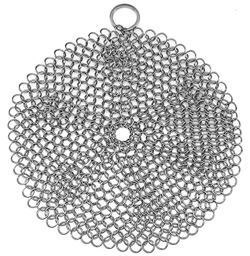 Stainless Steel Cast Iron Skillet Cleaner Chainmail Cleaning Scrubber With Hanging Ring for Cast Iron Pan ,Pre-Seasoned Pan ,Griddle Pans, BBQ Grills and More, Pot Cookware-Round 7 Inch Diameter