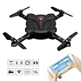 RC Quadcopter Drone with FPV Camera and Live Video - Flexible Foldable Aerofoils - App and Wifi Phone Control UAV - Altitude Hold 3D Flips & Rolls- 6-Axis Gyro Gravity Sensor RTF Helicopter, Black