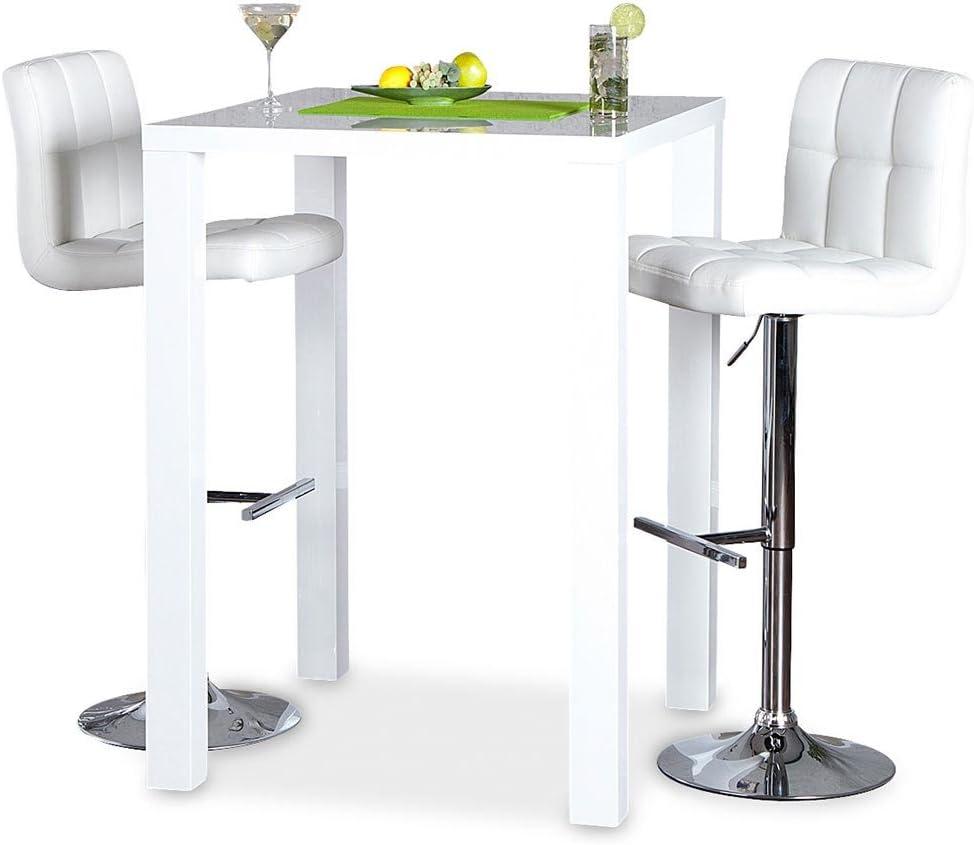 levandeo Bar-Tisch Tresen K/üchentisch Wei/ß Hochglanz Stehtisch Bartresen Esstisch Ablage K/üche 105x80x80cm