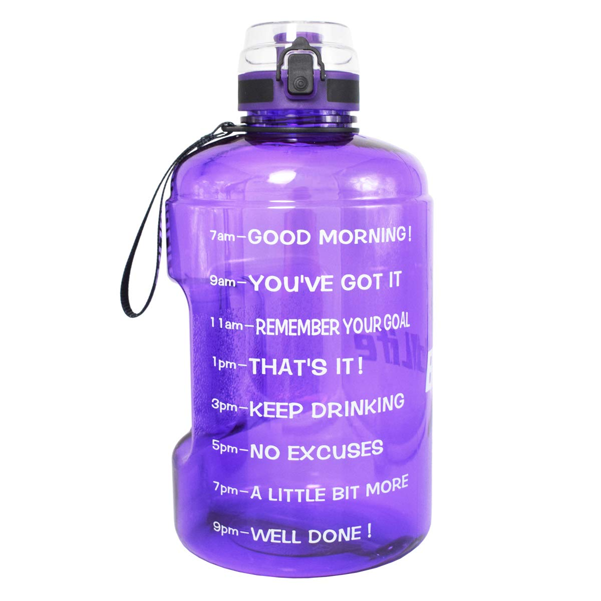 QuiFit Gallon Water Bottle with Motivational Time Marker,Wide Mouth Fast Flow Locking Flip-Flop Lid,BPA Free,128,73,43 oz,Large Capacity Outdoors Sport Water Jug