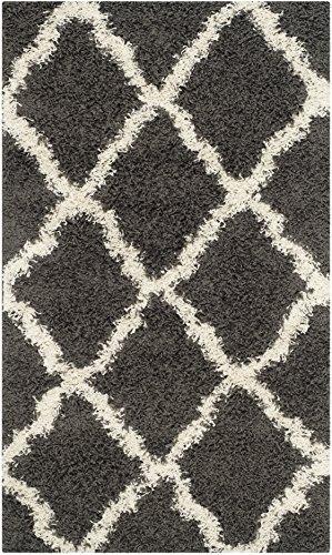 Safavieh Dallas Shag Collection SGD257A Dark Grey and Ivory Area Rug, 3 feet by 5 feet (3' x 5') (Tile Rug)