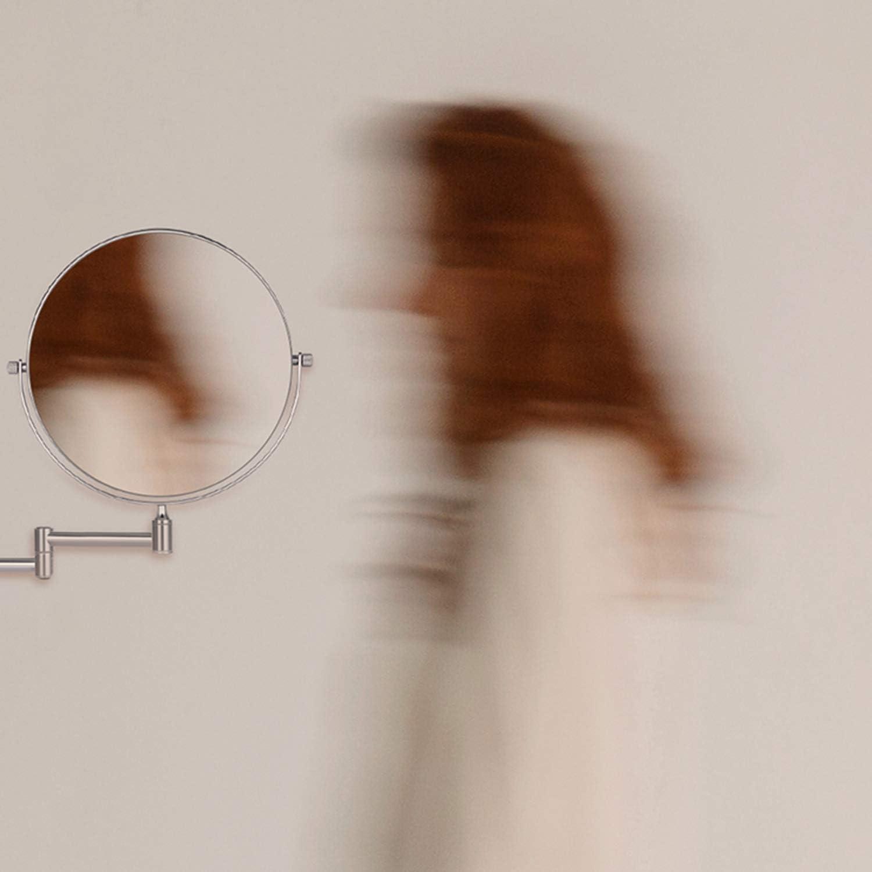 Spa Specchio Ingranditore da Parete 10 x // 1 Fissato al Muro Hotel Bifacciale Cozzine Specchio Ingranditore Girevole Specchio per Trucco Girevole Allungabile e Finitura Cromata per Bagno