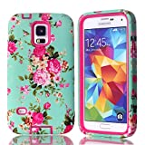 Kyпить Galaxy S5 Case, Firefish 3 in 1 Hybrid Heavy Duty Shockproof Protective Cover Hard PC Soft TPU Bumper Dual Layer Case for Samsung Galaxy S5 - Rose Red на Amazon.com