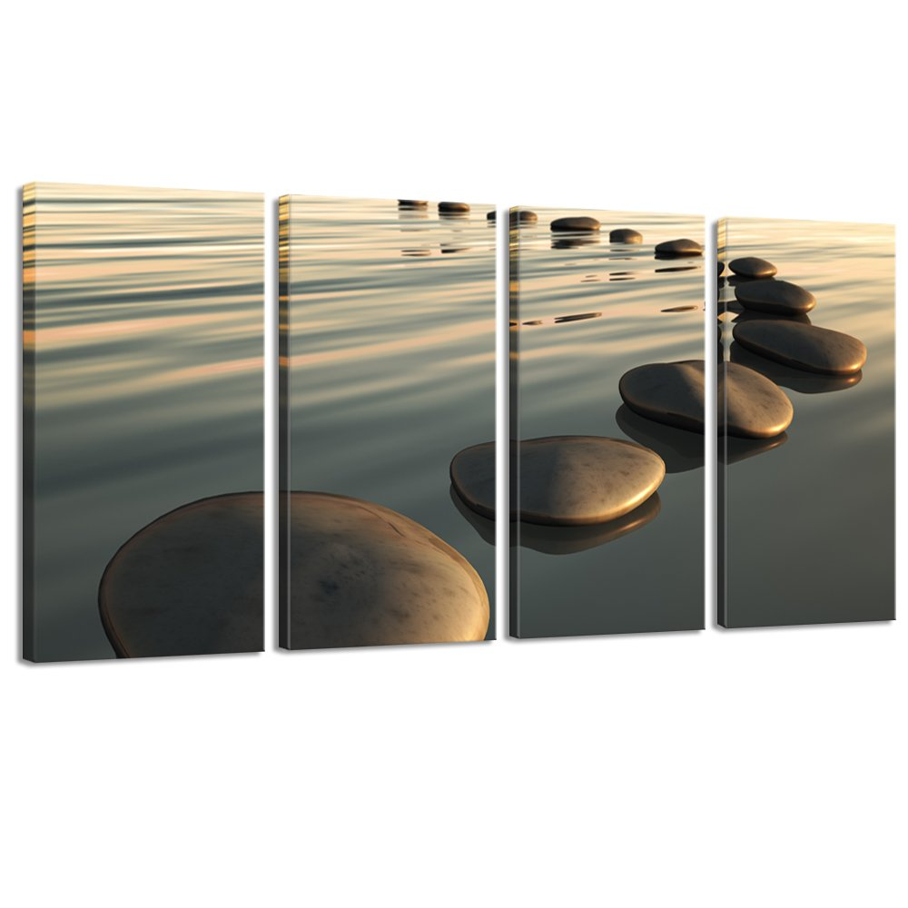 Live Art Decor - Large Zen Canvas Wall Art Basalt Stone at Sunset Relax Picture Spa Living Room Office Wall Decor Peaceful Scenery Artwork Framed Ready to Hang- 64''W x 32''H overall