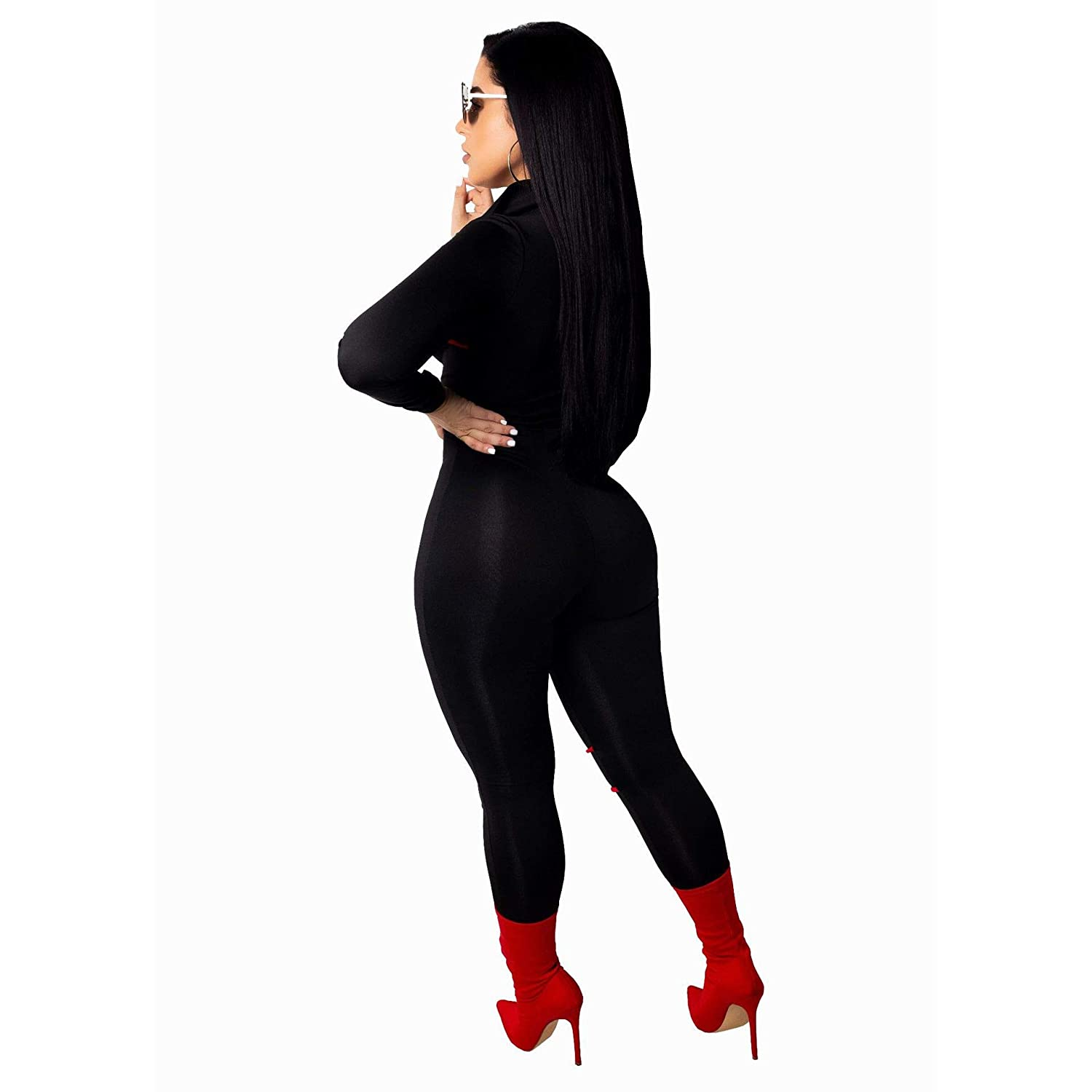 8b9a1940e751 Amazon.com  Sexy Long Sleeve Women s Rompers and Jumpsuits Clubwear Plus  Size high Waist Bodycon Pants  Clothing