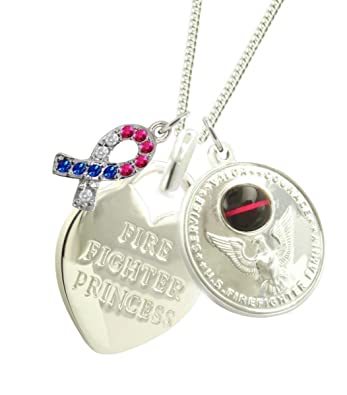 fire silver galery necklace girlfriend sterling firefighter traumspuren solid gift fireman