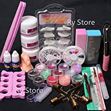 USPS Shipping! 24 in 1 Combo Set Professional DIY Nail Art Decorations Kit Brush Buffer Acrylic Glitter Powder Cuticle Revitalizer Oil Pen Tool Nail Tips Rhinestones Pearls Reusable Form Glue Acrylic Set