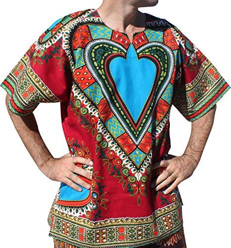 RaanPahMuang Bright Heart Cotton Africa Dashiki Plus Sized Shirt Plain Front, XXXX-Large, Red by RaanPahMuang