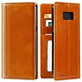 iPulse ipulse-sss8p-cog-vd Galaxy S8 Plus Flip Case Journal Series Italian Full Grain Leather Handmade Wallet Case for Samsung Galaxy S8 Plus Built-In Stand, Card Slots Holder - Cognac