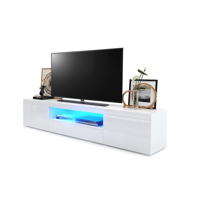 WeiãÿHochglanz   WeiãÿHochglanz mit LED Beleuchtung TV Board Lowboard Santiago, Korpus in Weiß Hochglanz   Fronten in Weiß Hochglanz und Weiß Hochglanz inkl. LED Beleuchtung
